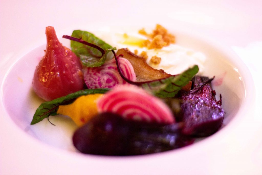 Roasted Beetroots, Smoked Goat Milk & Crispy Pork Belly