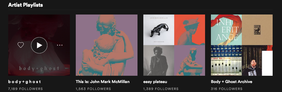 Spotify allows you to listen to playlists compiled by your favourite artists